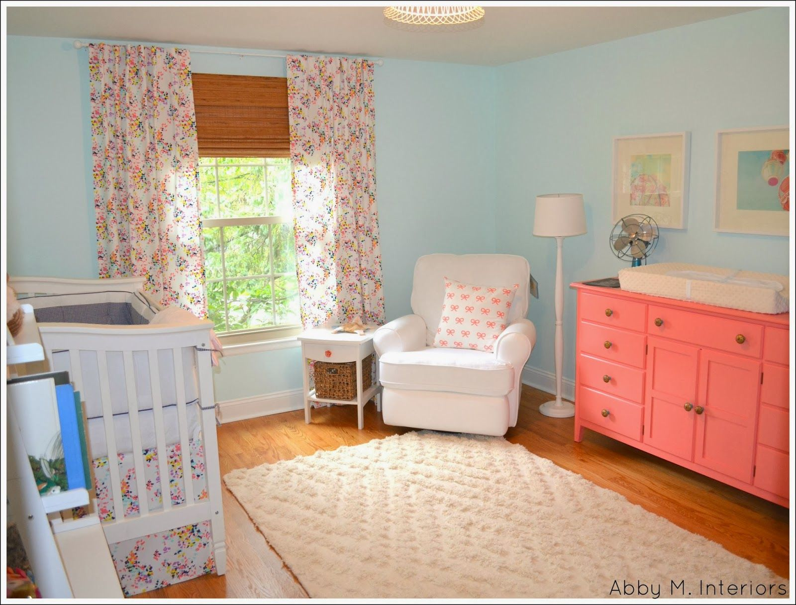 Abby M Interiors Pretty Nursery In Blue And Coral Bm Barely Teal 2048 70 On Walls And Bm Pink