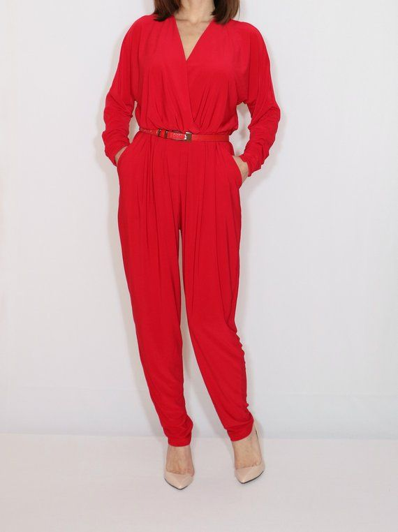 fbc0b73f333 Red long sleeve jumpsuit women Red harem jumpsuit Red batwing dress ...
