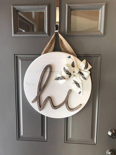 White Front Door Hanger Door Hanging Decor Sign For Front Door Wood Door Decor Round Wood Sign In 2019 Decorate With Words Home Decor Front Door Deco