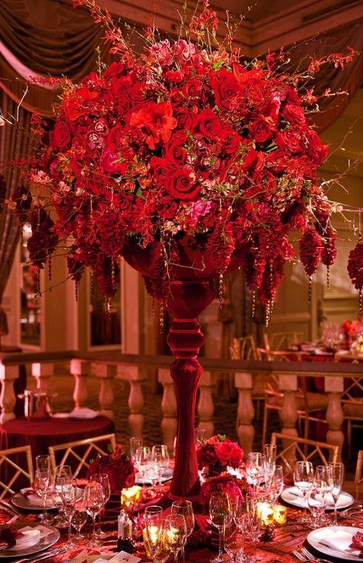 Roses, amaryllis, cymbidium orchids designed by Preston Bailey