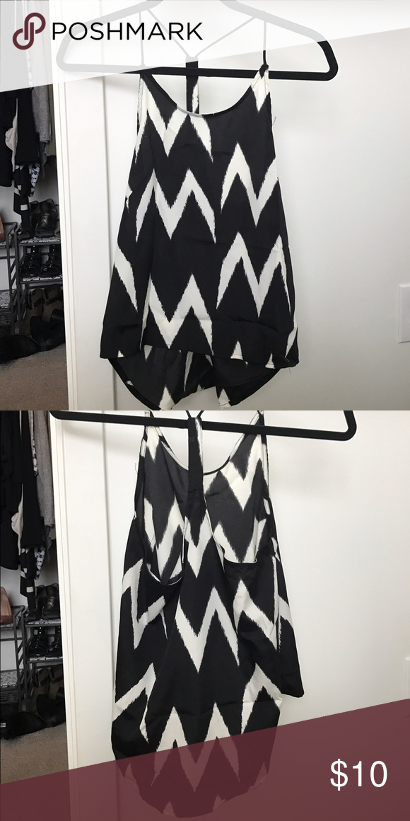 Black and White Silky Tank Chevron silky tank from H&M. Very lightly worn. H&M Tops Tank Tops