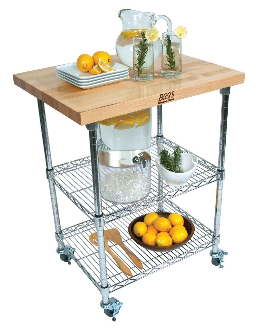Boos Metropolitan Wire Cart - Butcher Block Top, Chrome Shelves at ...