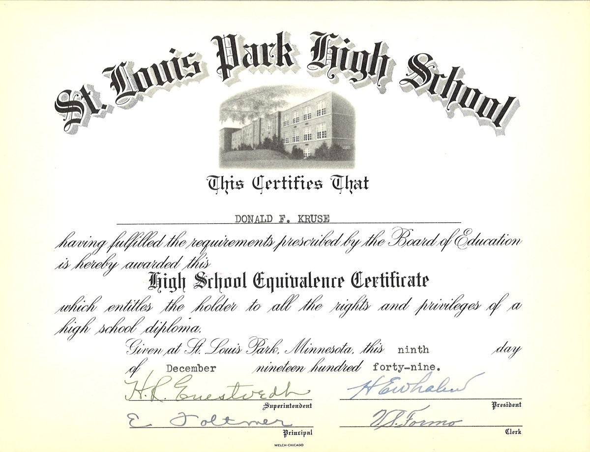 High School Equivalency Certificate From Awarded After Don Kruse Took The Ged