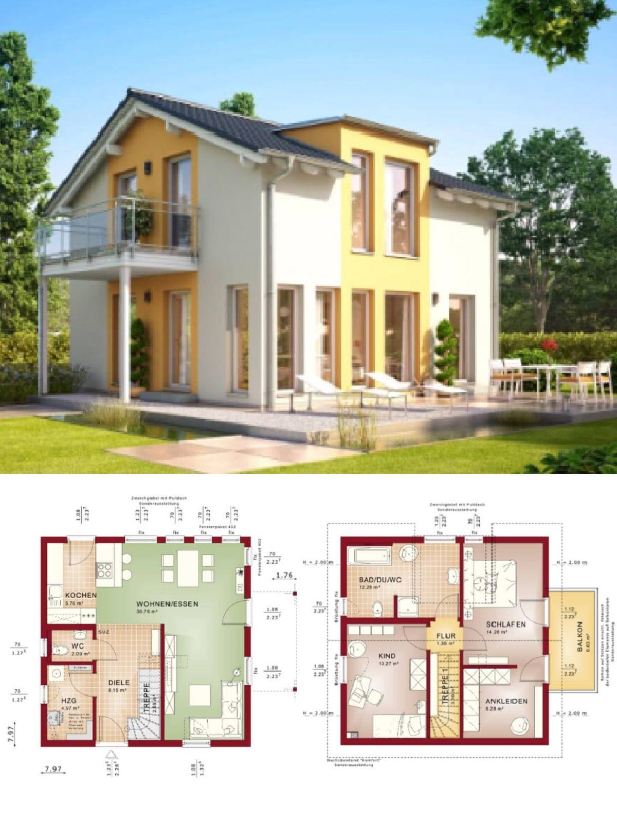 Einfamilienhaus Modern Mit Satteldach Fassade Putz Weiss Gelb