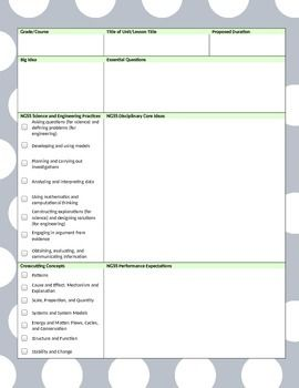 Word Ngss Lesson Template Gray Lime Polka Dot Teaching