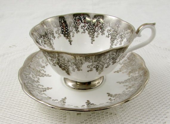 Vintage Royal Albert Tea Cup and Saucer with Silver Grapes, Wide Mouth Tea Cup, English Bone China