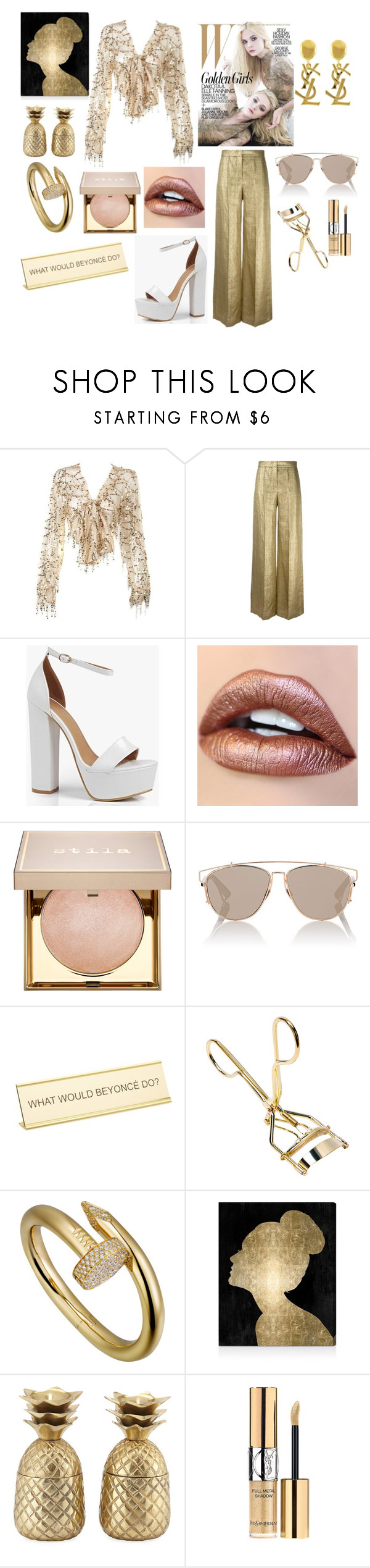 """""""shimmery."""" by comerttaylan ❤ liked on Polyvore featuring Etro, Yves Saint Laurent, Boohoo, Stila, Christian Dior, He Said, She Said, Oliver Gal Artist Co. and Jodhpuri"""