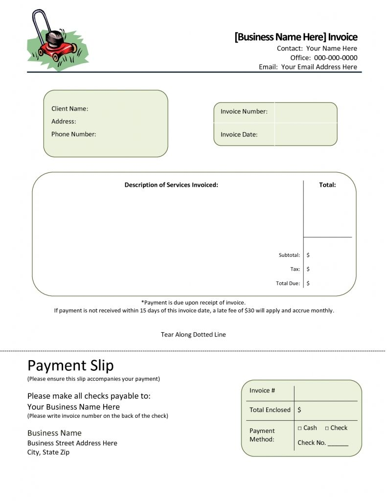 Invoice Template Landscaping Design Invoice Template Simple