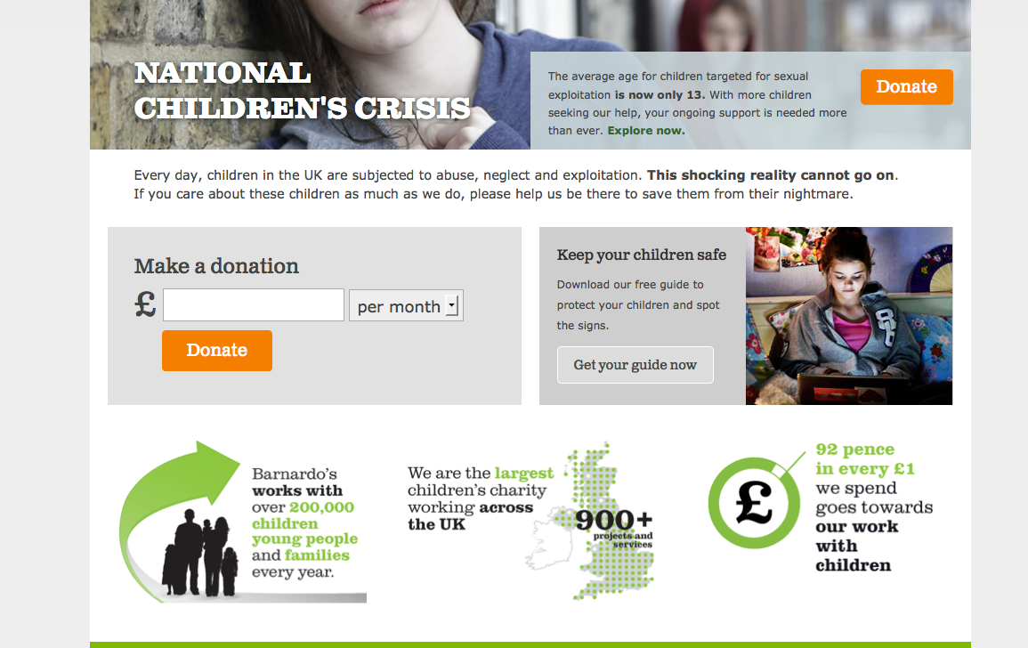 simple reccuring option in donation form and good use of footer space to explain impact at the same time - Barnardo's website http://www.barnardos.org.uk/