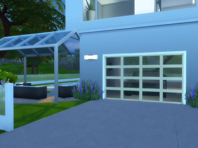 Garage Doors Set Modern Maplewood Door With Glass Parts Found In Tsr Category Sims 4 Miscellaneous Decor Garage Doors Door Sets Glass Door