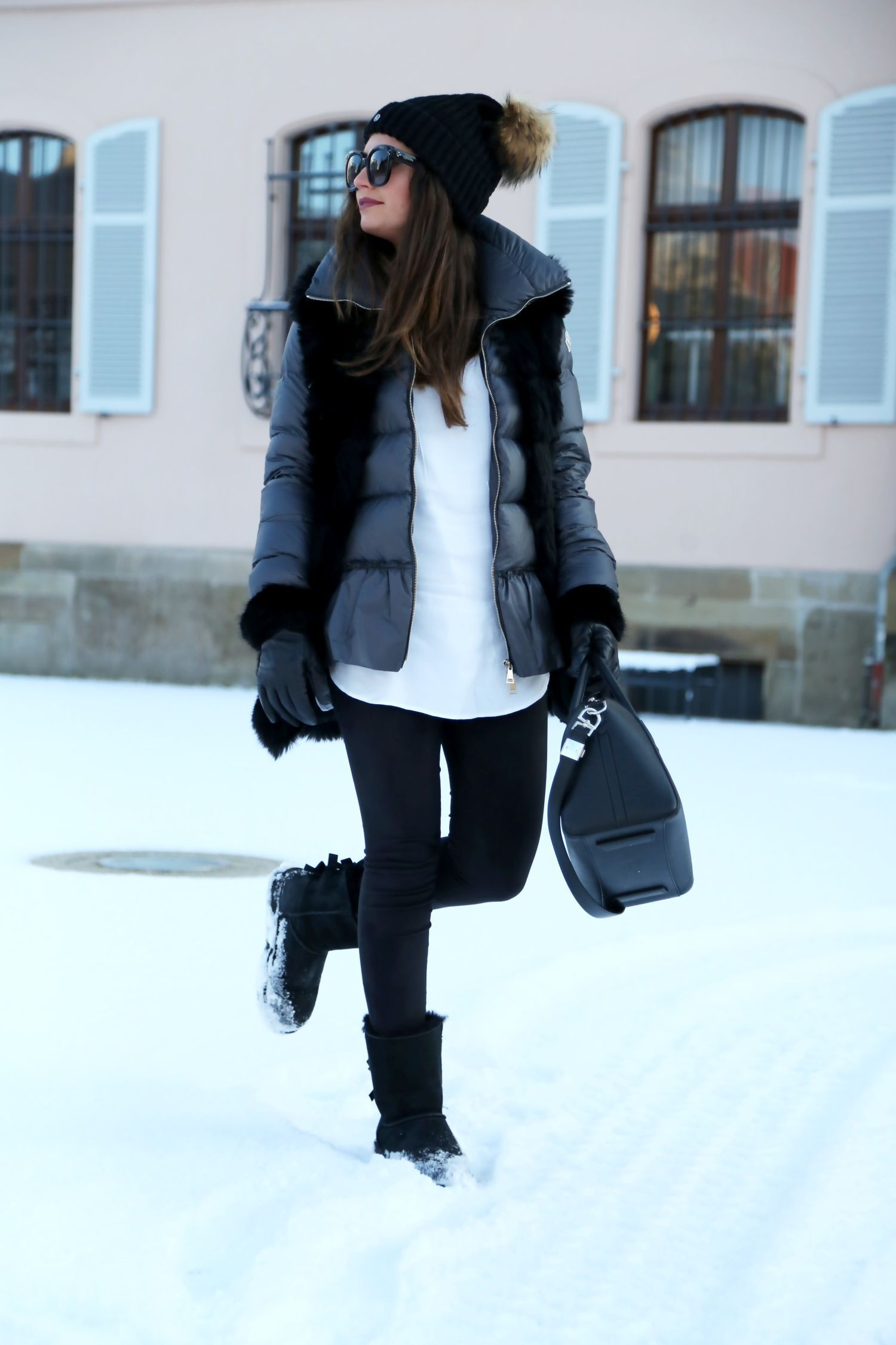 outfit winter look ugg boots moncler coat | Winter boots