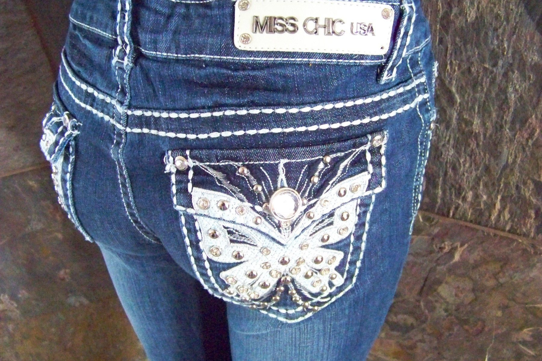 NWT Miss Chic bling boot cut  jeans sizes are 3 7 9 11