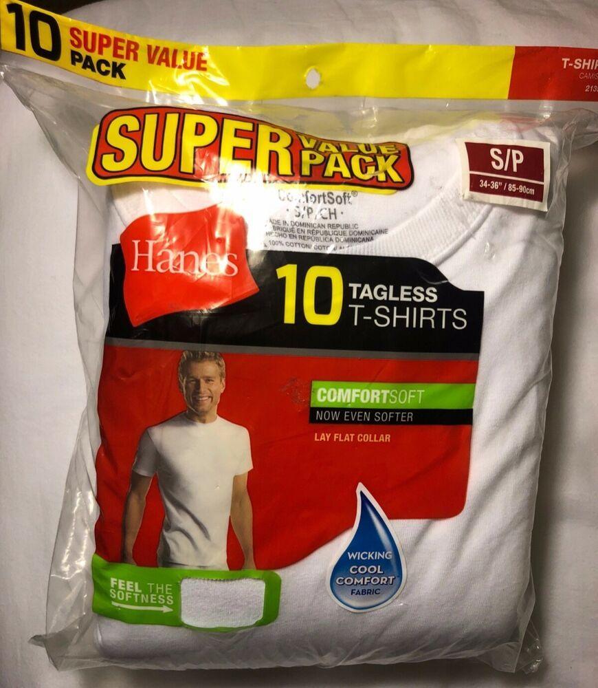 Hanes Mens T-Shirts 10-Pack WHITE TAGLESS Comfort Soft Crew Neck 100/% Cotton