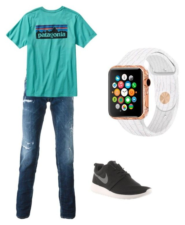 """""""Men school look"""" by vallie-evans on Polyvore featuring Dsquared2, Patagonia, NIKE, men's fashion and menswear"""