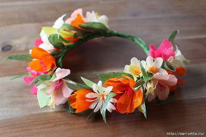 Как сделать венок с цветами из гофрированной бумаги на голову 92