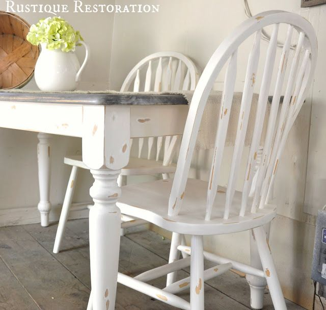 White Distressed And Gray Barn Wood Looking Farm Table