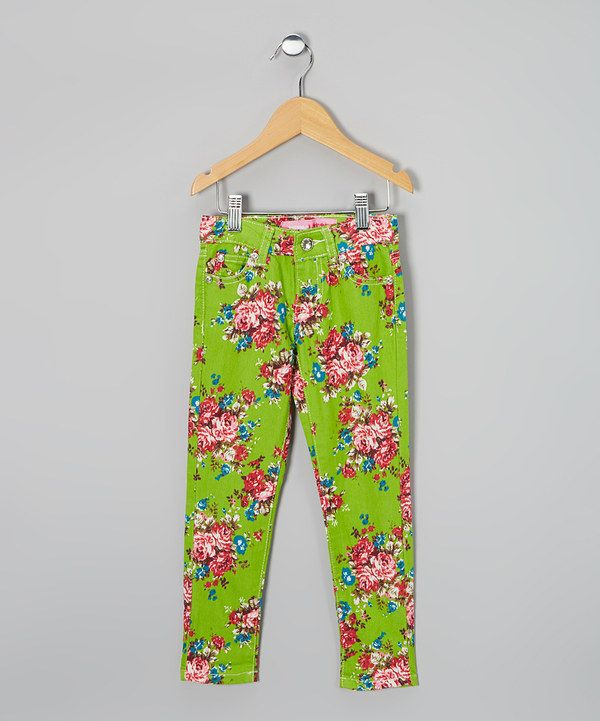 Take a look at this Green & Pink Floral Skinny Jeans on zulily today!