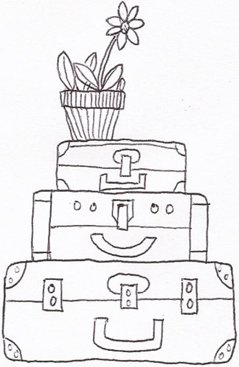 Suitcases Doodle Biro Pattern Coloring Pages Biro