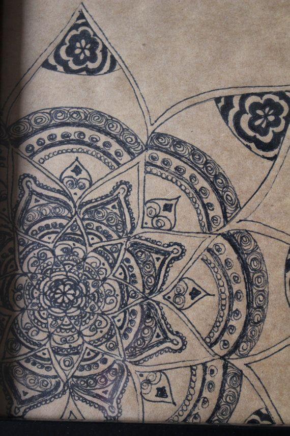 Original Hand Drawn Mandala Framed: Ink on by yourhomemadezen