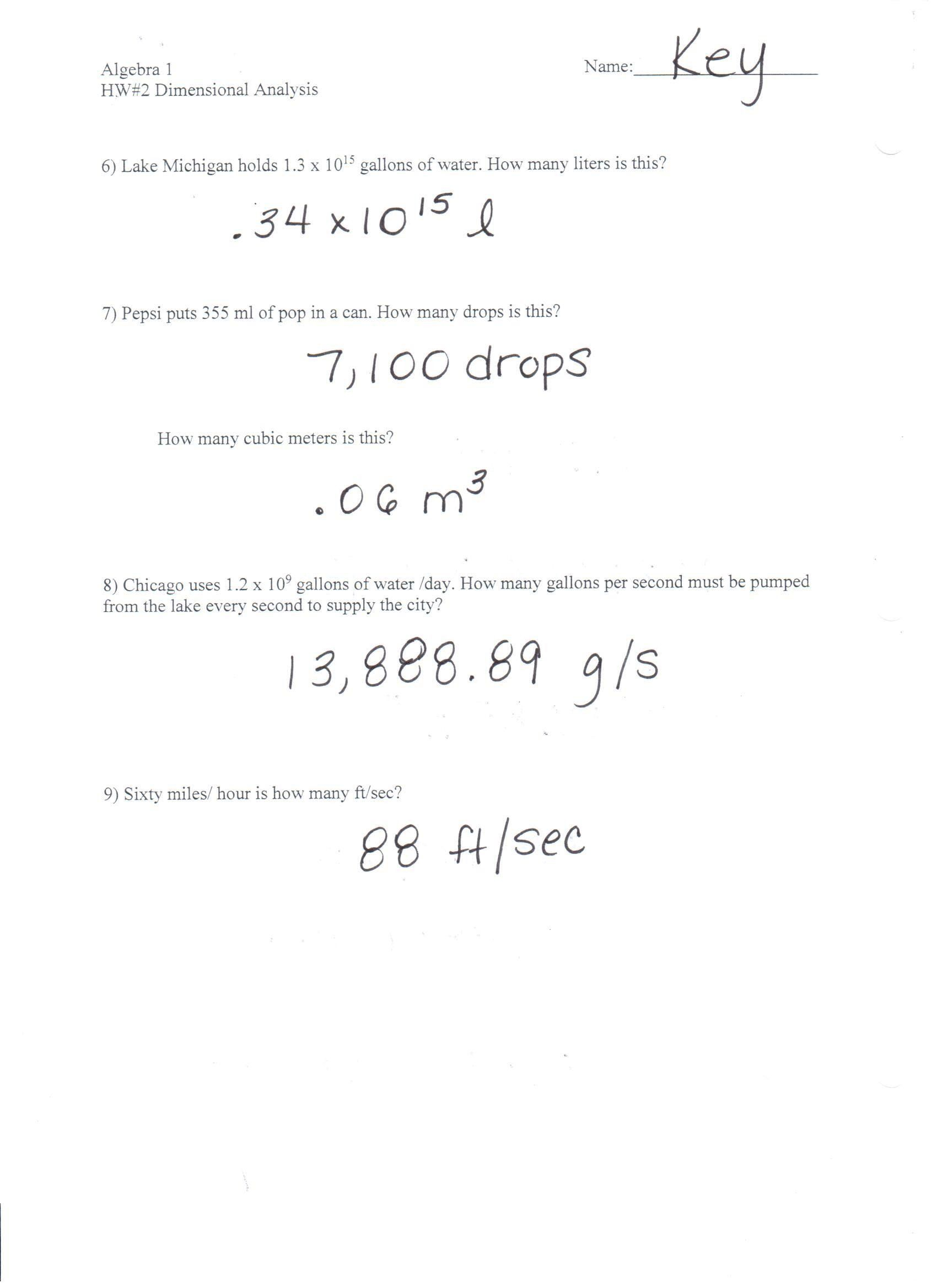Dimensionalysis Worksheet 1 Answer Key