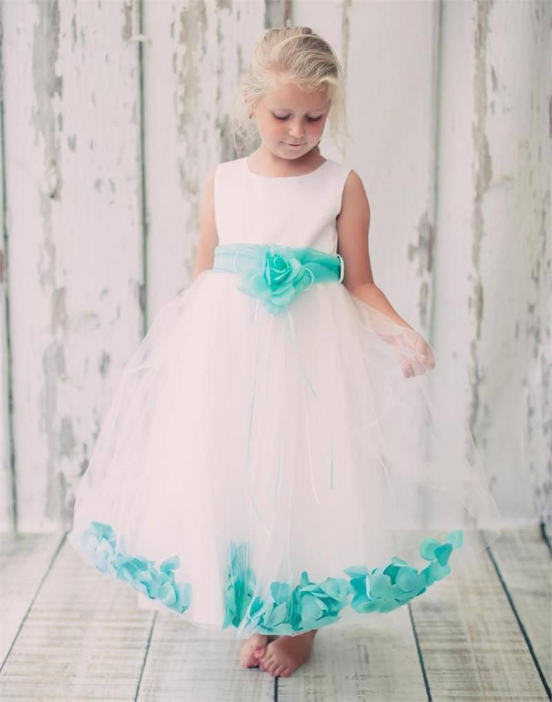 4291db71f9d Flower Girl Dresses With Tiffany Blue Sash