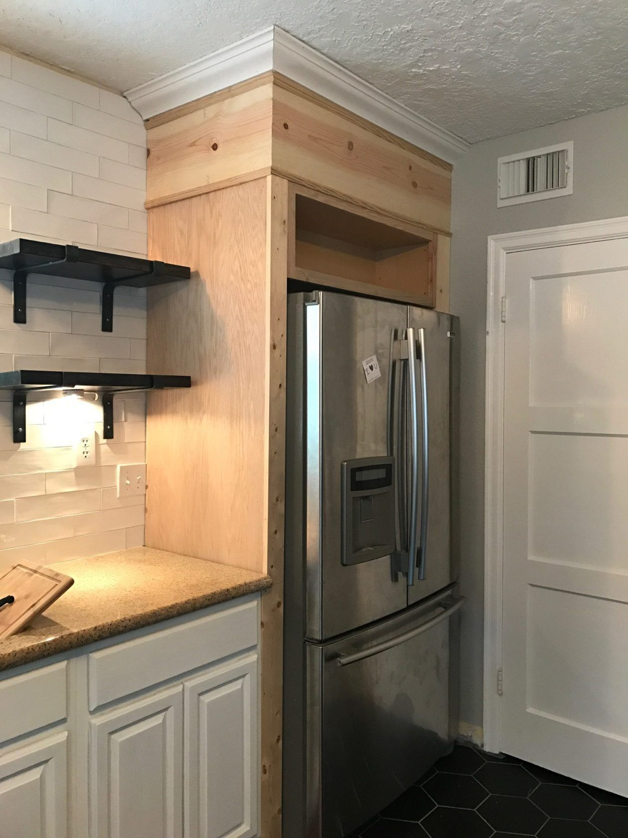 Diy Fridge Surround Kitchen Renovation Refrigerator Cabinet Custom Cabinet Over The Fridge Kitchen Diy Makeover Diy Kitchen Renovation Diy Kitchen Cabinets