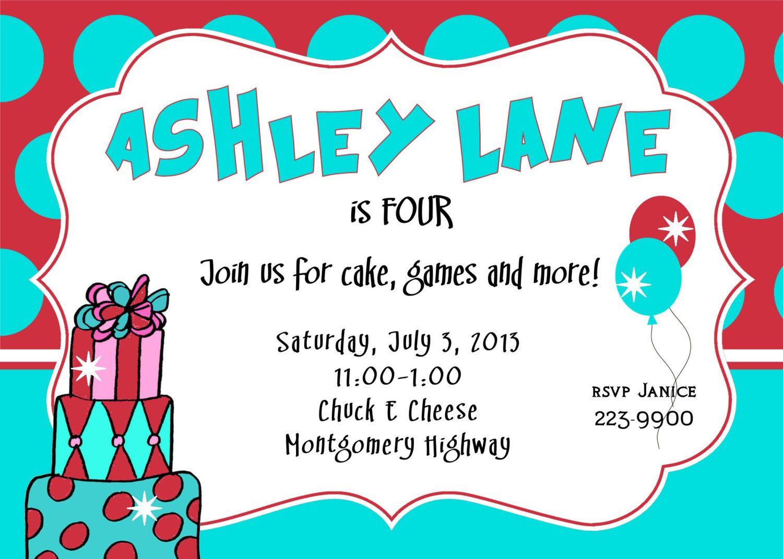 4th birthday invitation girl birthday invitation Dr. Seuss inspired ...