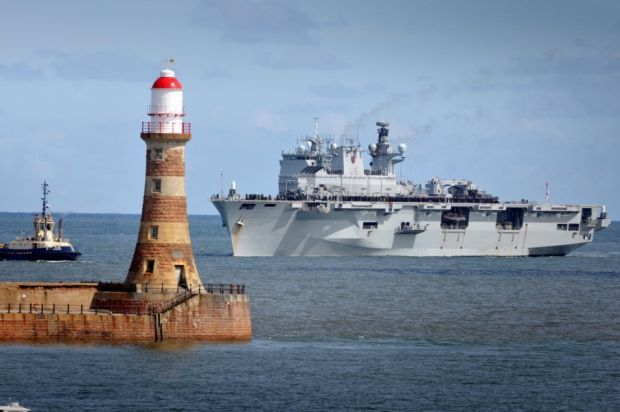 Sunderland's adopted ship HMS Ocean enter's the River Wear