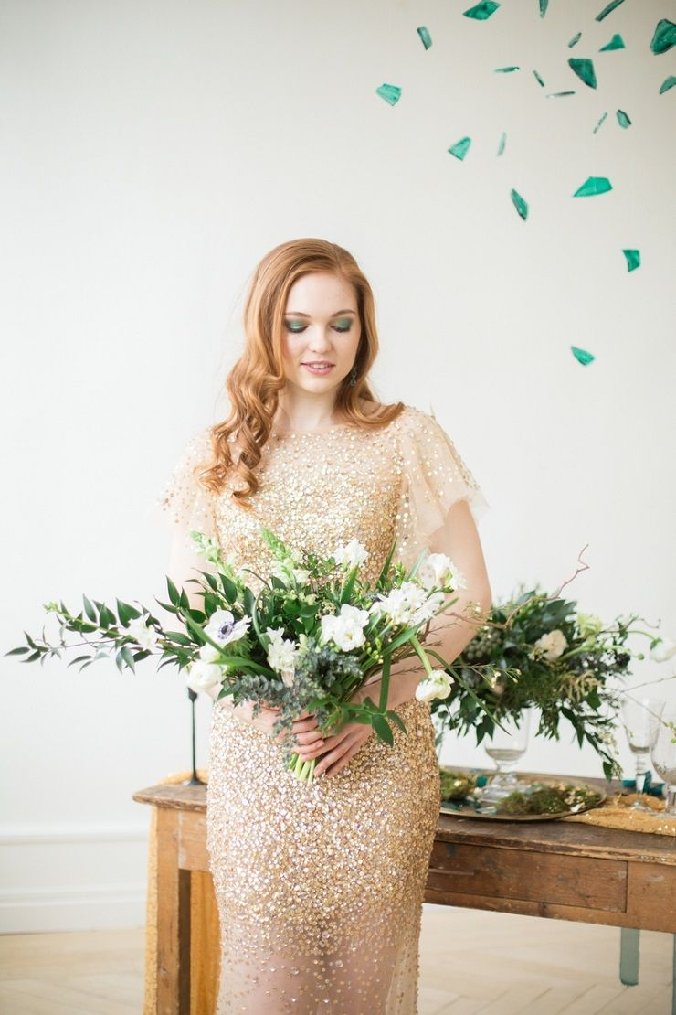 Glittering Gold Wedding Dress and green wedding bouquet | fabmood.com #wedding #weddingstyledshoot #weddingphotos #weddinginspiration #weddingphotography #fineartwedding #fairytalewedding