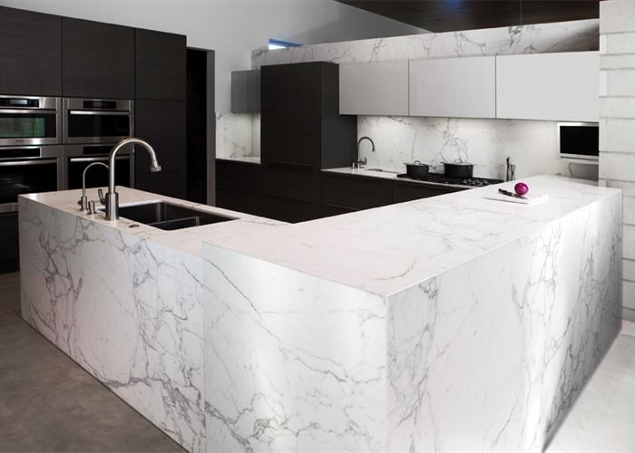 Interesting White Marble Kitchen Countertops Statuary