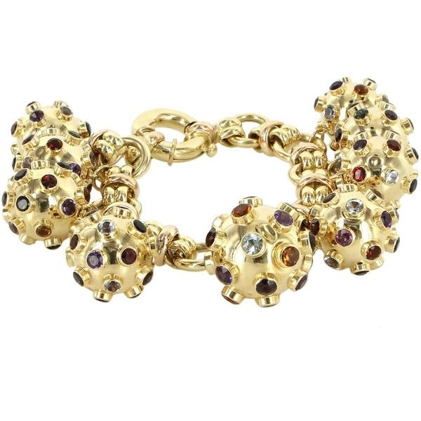 Vintage Pre-Owned Vintage Sputnik Gemstone 9 Charm Bracelet 18k Yellow... ($3,495) ❤ liked on Polyvore featuring jewelry, bracelets, yellow gold, 18k bracelet, charm bangle, gold bracelet, gold bangles and jade bangle