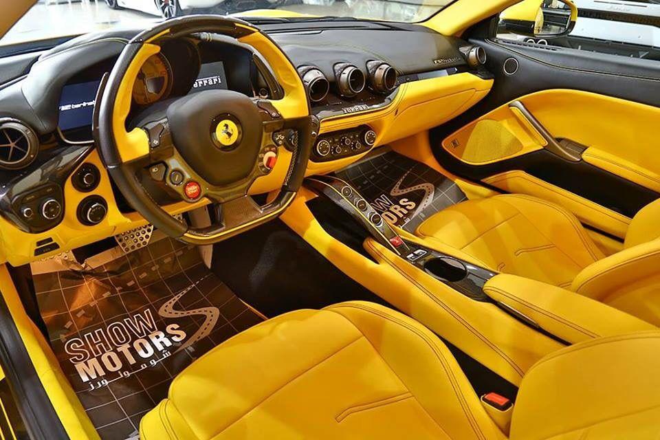 ferrari F12 yellow and black interior custom