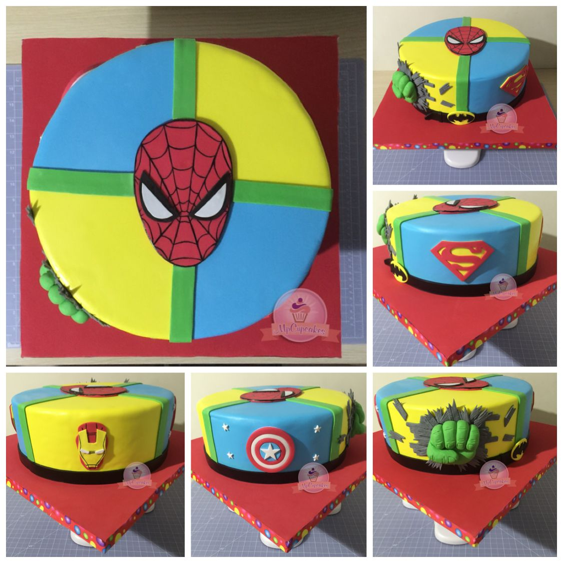 Torta de super hroes Superman Batman Hulk Spiderman Capitan
