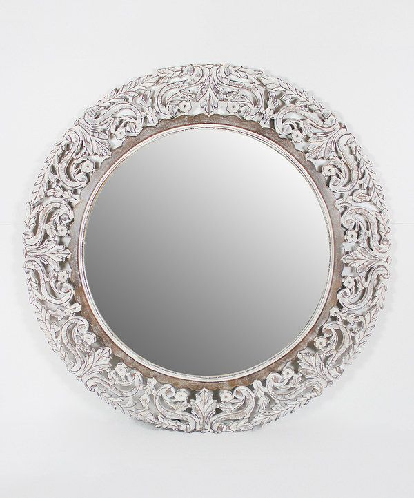 White Distressed Floral Round Mirror By Azzure Home Zulily Zulilyfinds Round Mirrors Mirror Floral