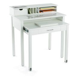 white rollout desk for myroom would be good for my make up table - White Desk