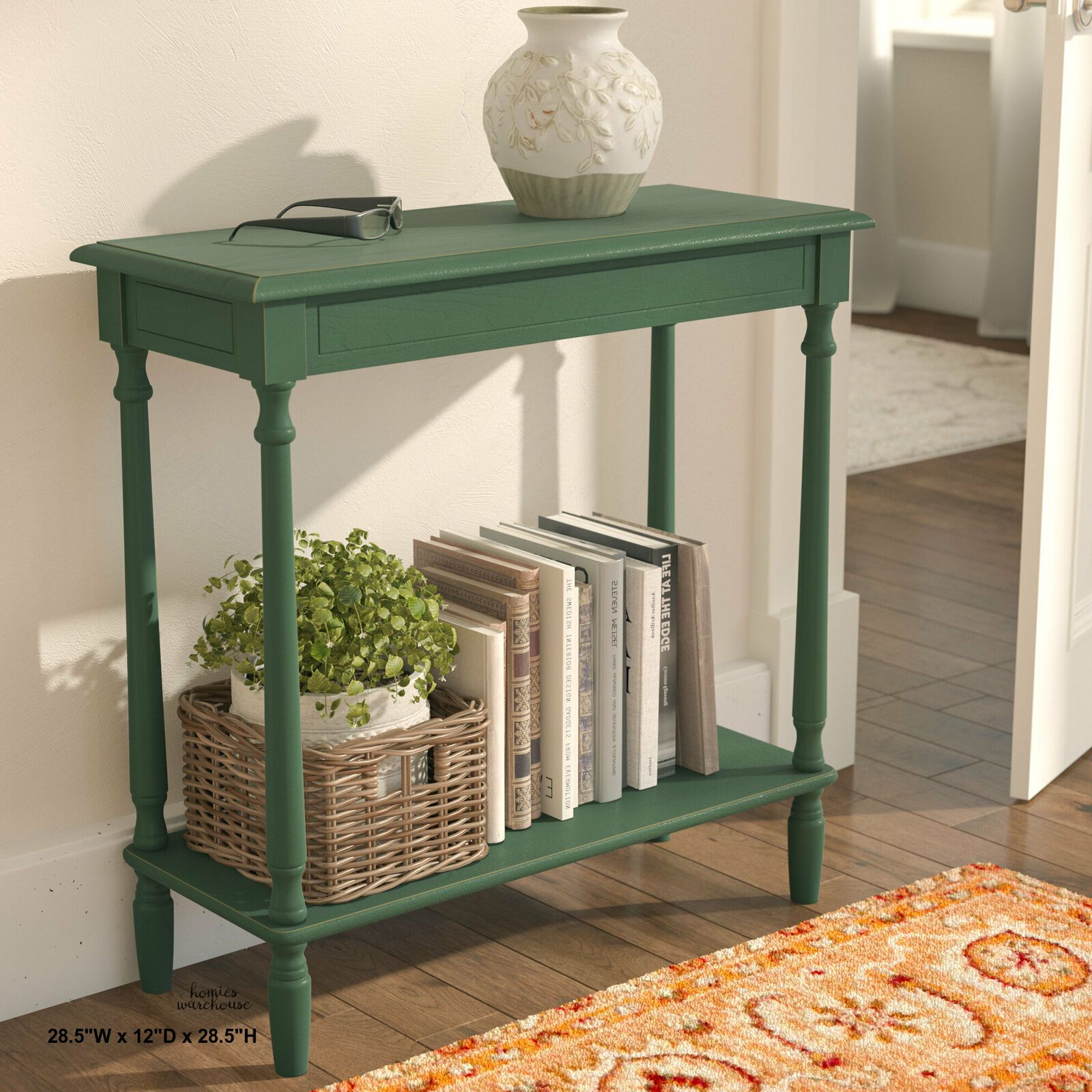 Farmhouse Small Console Table Wood Rustic Green Shelf Carved Entry Hallway Sofa Console Table Console In 2020 Wood Console Table Small Console Tables Console Table