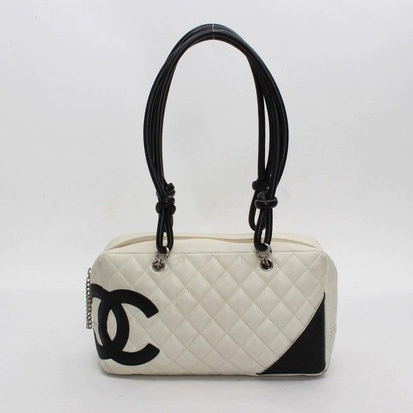 CHANEL Bowling Bag Cambon Shoulder bags White Leather A25171