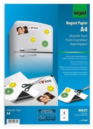 Sigel IP440 InkJet-Magnet-Papier A4, 5 Blatt, weiß, spezialbeschichtet, 380 µm