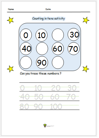 counting in tens worksheet activity free print out missing numbers ...