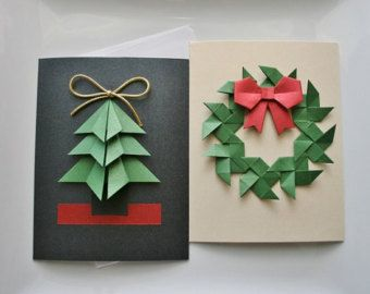 Origami Cards Handmade Card Sets Greeting Cards Birthday Cards Thank You Cards Mothers Day Cards Christmas Origami Christmas Cards Origami Christmas Tree Card