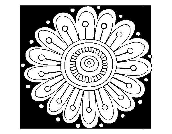 Dibujo de Mandala margarita para Pintar y Colorear en Línea ...