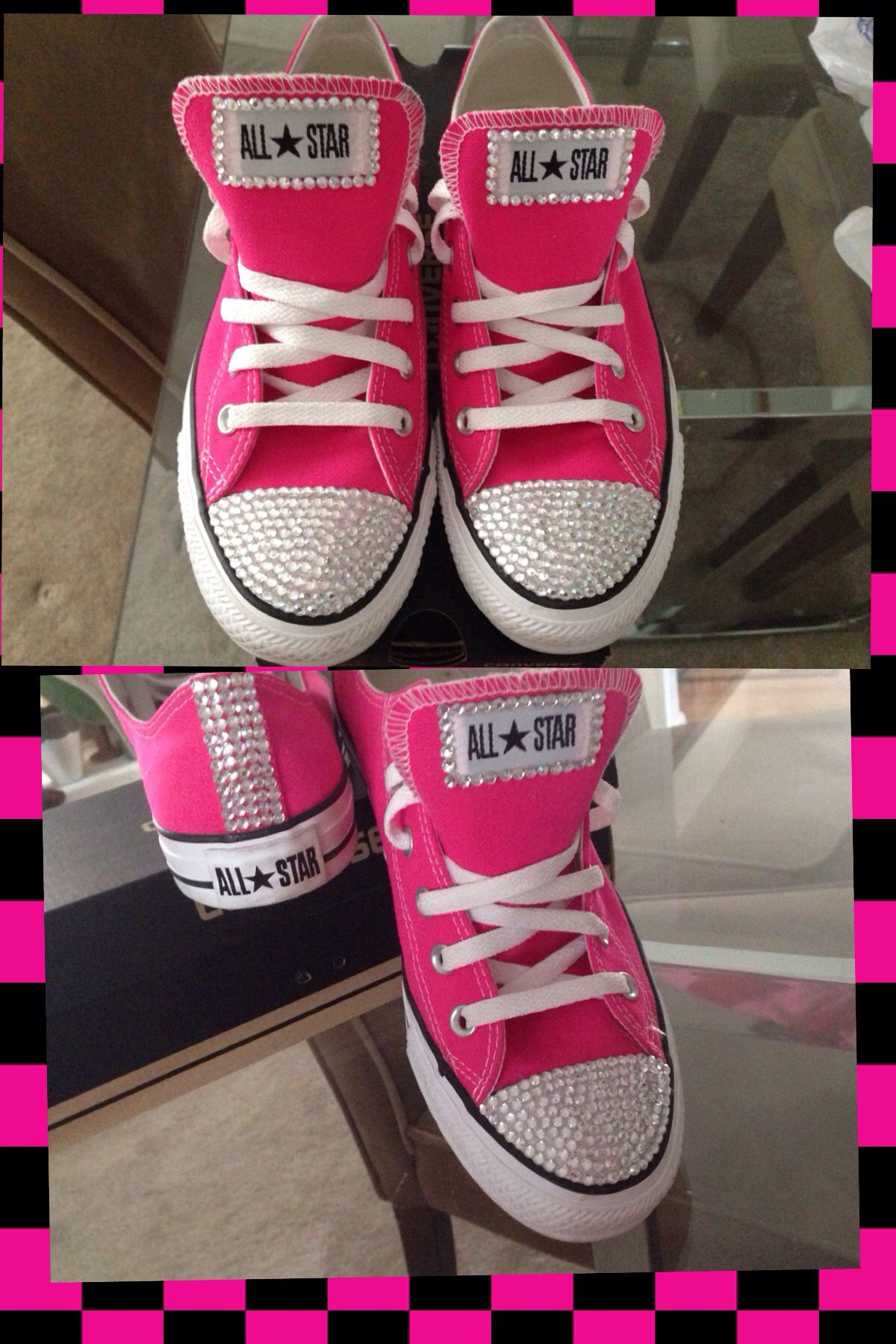 0c378dbc14ac Custom Pink Chuck Taylors. Pink converse adorned with clear craft crystals.