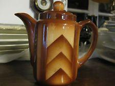 Art Deco Coffee pot Bunzlau Feuerfesr Spritzdekor