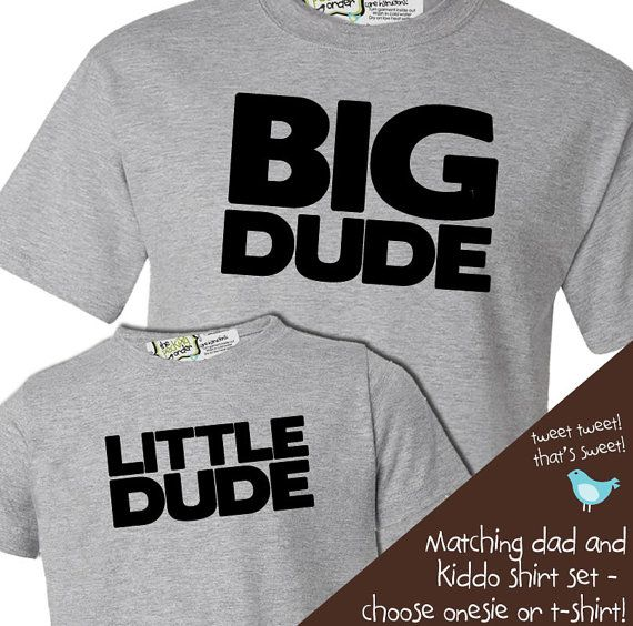 matching daddy and baby tshirt gift set big dude | Kids