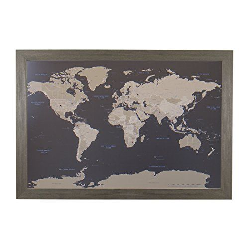 Earth toned world push pin travel map with barnwood gray frame and earth toned world push pin travel map with black frame and pins 24 x 36 push pin travel maps gumiabroncs