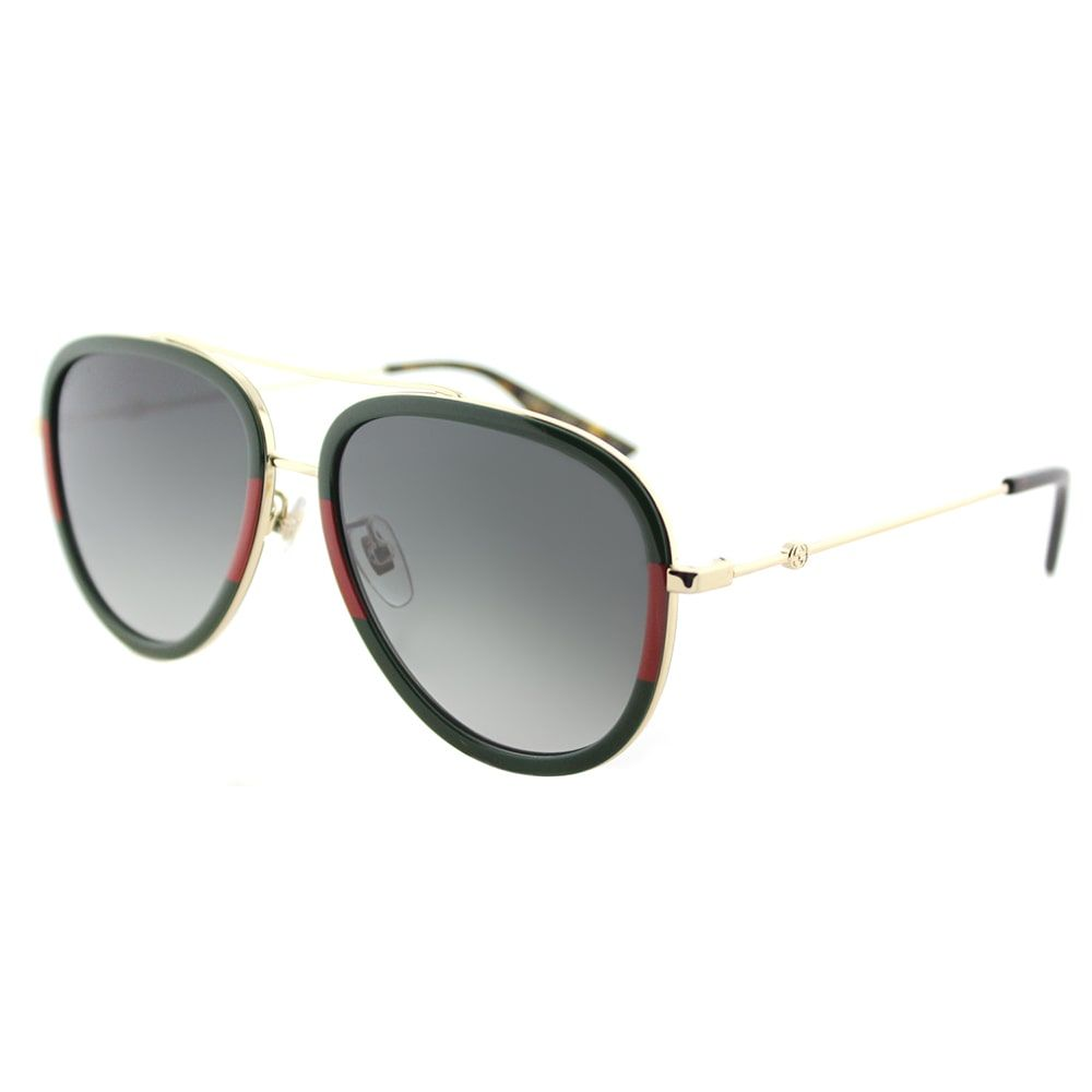 7cf0a38b86c Gucci Women s GG 0062S 003 Red-striped Green  Aviator Sunglasses with Grey  Gradient Lens