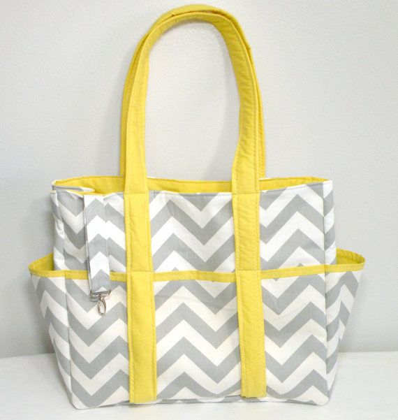 Chevron Diaper Bag Tote Nappy Bag Extra Large Gray and Yellow Grey ...
