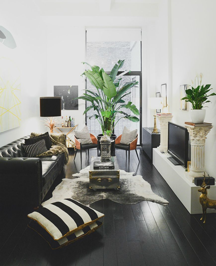 The possibilities are endless when you use white as the base of your color palette for your living room furniture. Living Room Inspiration: Black Leather Sofa   Living room ...