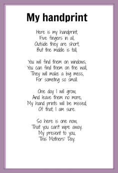 mothers day poems for kids. Mother s Day poem  My Handprint NOTE word something is missing the letters Mothers poems Poem and Kid activities
