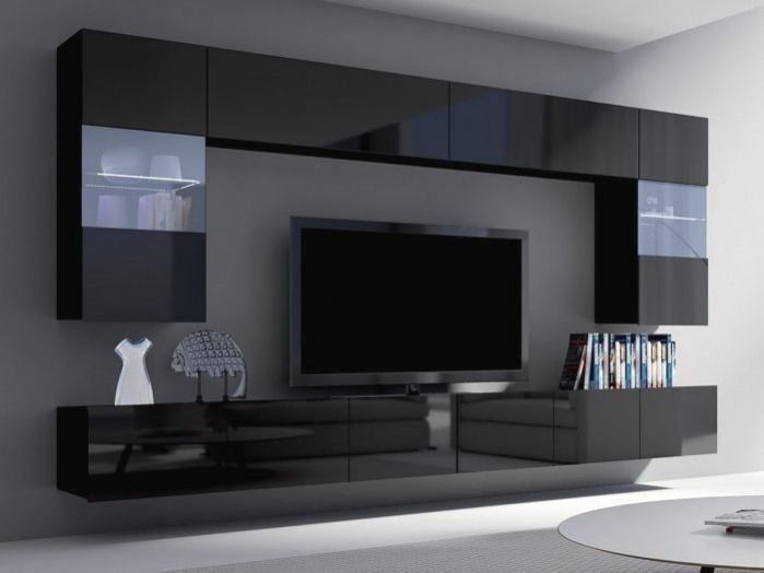 Unite Murale Noire Haute Brillance Pas Cher In 2020 Living Room Wall Units Living Room Design Modern Living Room Tv